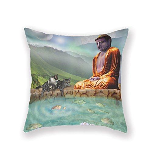 Fashion Home Decorative 18Inches Throw Pillowcase Buddha N Cats Cushion Cover One Side