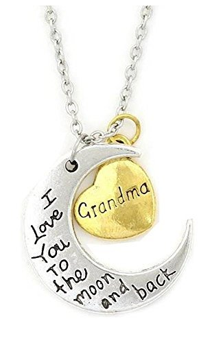 Grandma Half Moon and Heart Pendant Necklace