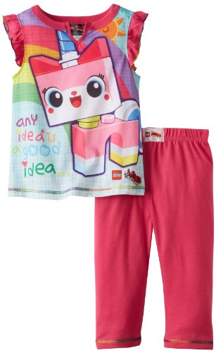 Lego Movie Big Girls'  Unikitty Pajama Set, Pink, 7/8