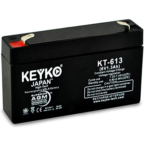 BCI International 3302 Pulse Oximeter Battery 6V 1.3Ah Fresh & REAL 1.3Amp AGM/SLA Rechargeable Replacement Designed for Medical - Genuine KEYKO - F1 Terminal ()