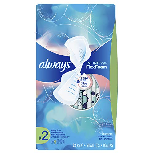 Always Infinity Feminine Pads for Women, Size 2, Heavy Flow Absorbency, with Wings, Unscented, 32 Count - Pack of 3 (96 Count Total) (Packaging May -