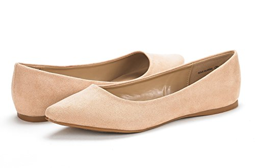 DREAM PAIRS Sole Classic Fancy Damen Casual Spitzschuh Ballett Comfort Soft Slip auf Wohnungen Schuhe Nude Wildleder