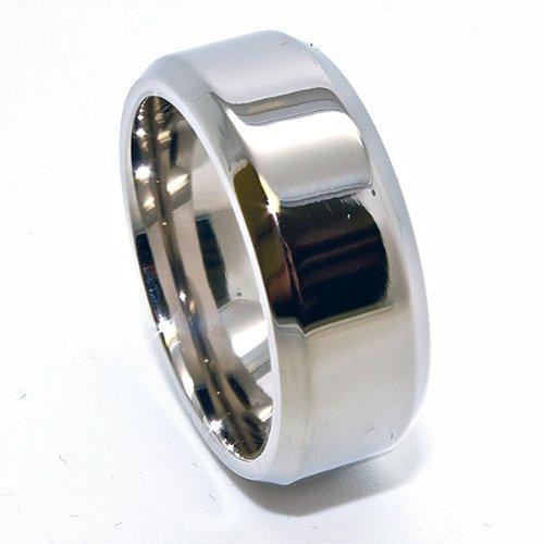 Unique 8mm Titanium Ring with Beveled Polished Edges Wedding Band Size 15