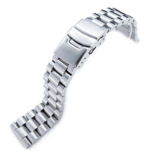 22mm Endmill Solid Metal Watch Bracelet, 316L Stainless Steel, Straight ()