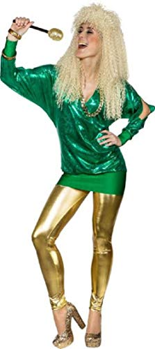 Ladies 80's Metallic Long Cold Shoulder Disco Diva Fun Fancy Dress Costume Outfit Top Plus Size UK Size 6-24 (UK 14-16 (EU ()