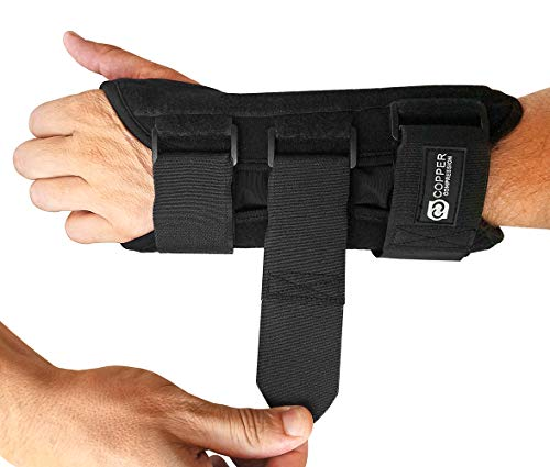 Copper Compression Carpal Tunnel Night Time Wrist Brace - Guaranteed Highest Copper Content Wrist Support Braces. Comfortable Sleep for Wrists and Hands Relief. Adjustable Support Splint. (Left Hand)