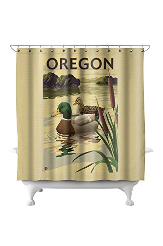Shower Curtain Measures 74x74 Inches Image Size Of 45 3/8 X 68 Inches 100 ·  Mallard Ducks   Oregon ...