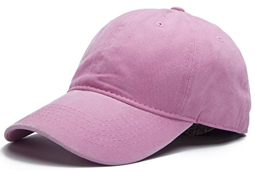 (Edoneery Adjustable Washed Twill Low Profile Cotton Baseball Cap Hat(Pink))