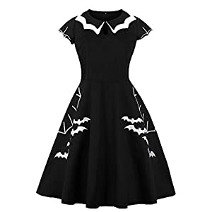 Wellwits Women's Plus Size Bat Spider Web Embroidery Halloween Vintage Dress