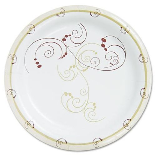 Poly-Coated 9-inch Paper Plate Symphony Design Medium Weight Pack of 250 ()