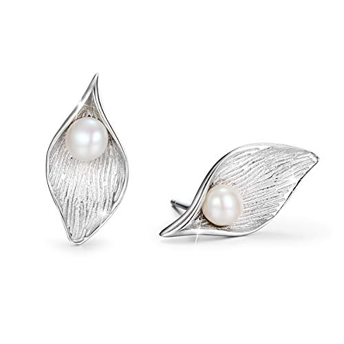 PEARLOVE Calla Lily Stud Earrings for Women 925 Sterling Silver Earrings with Pearl Hypoallergenic Earrings Gift Box Packaging