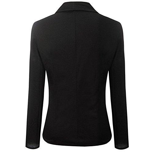 negro dos larga para de botones chaqueta Skyblue Negro gris estilo elegante manga oficina casual corta solapa mujer uk npZqg8qxw4