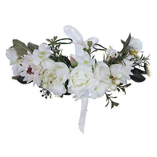 (HAIMEIKANG Adjustable Flower Crown Headband - Women Girl Festival Wedding Flower Wreath Headband (white))