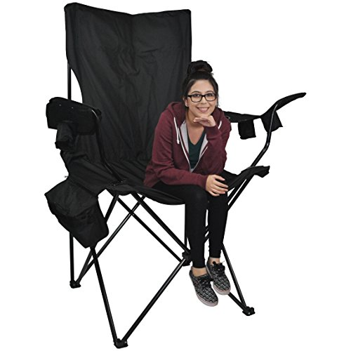 Prime Time Outdoor Giant Kingpin Folding Chair Chair Hunter Camouflage With 6 Cup Holders Cooler Bag and Portable Carrying Case (Black)