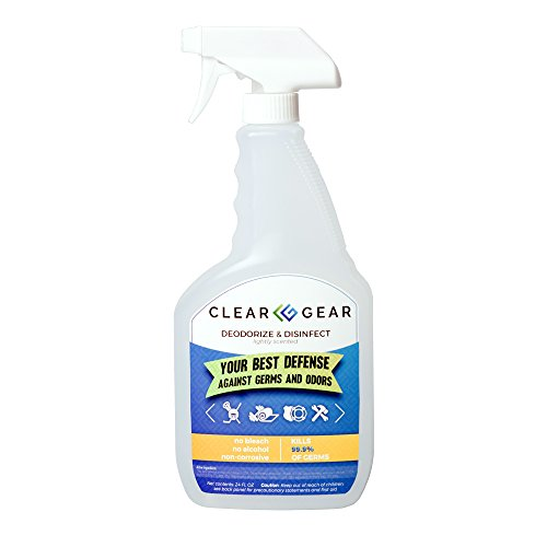 Clear Gear Disinfecting Spray 24 Ounce Bottle - Disinfect, Clean and Deodorize Sports and Protective Gear and Eliminate the ()