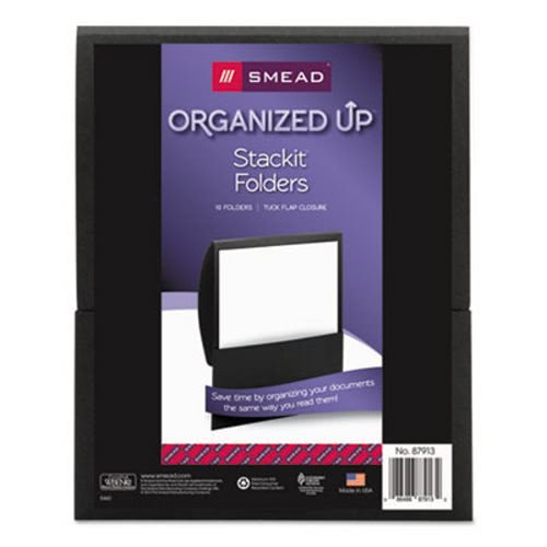 Textured Stackit Folders, Letter Size, Black, 10/Pack, Sold as 10 Each