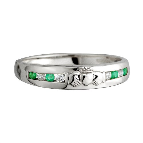 Claddagh Ring 14K White Gold 8 Stone Diamond & Emerald Sz 9