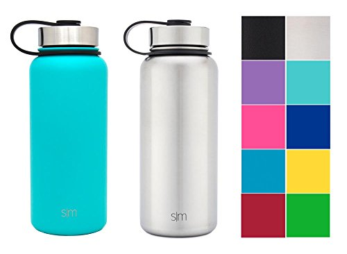 Water Aluminum (Simple Modern 32oz Summit Water Bottle 2 Pack - Two Vacuum Insulated 18/8 Stainless Steel Wide Mouth Hydro Travel Mugs - Powder Coated Double-Walled Flask - Caribbean Blue/Stainless Steel)
