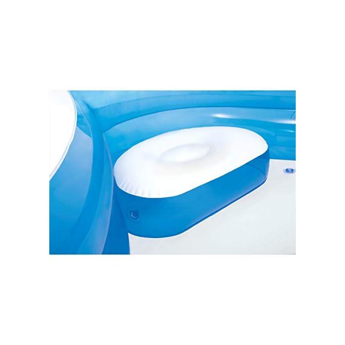 41GwwkIdJhL Piscina hinchable Intex de vinilo con forma cuadrada, medidas: 229 x 66 cm y capacidad para 990 litros/agua Piscina hinchable con 4 asientos y respaldos hinchables para mayor comodidad y relajación Piscina de color blanco y azul, incluye 2 posavasos en la lona de la piscina
