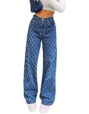 Shuyun Women 's High Waisted Wide Leg Pants Straight Denim Jeans Casual Baggy Trousers Y2K Streetwear Fashion