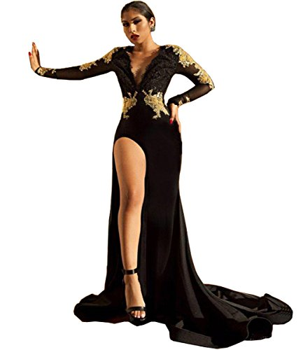 Junior Mermaid Deep V Neck Long Sleeve Prom Dress Open Back Sexy Evening Gown Black US8]()