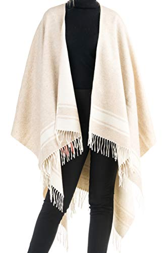 Angiola Made In Italy – Women's Fringed Striped Wool Poncho 100% Made In Italy – Comfortable And Enfolding (Sand, Off-White)