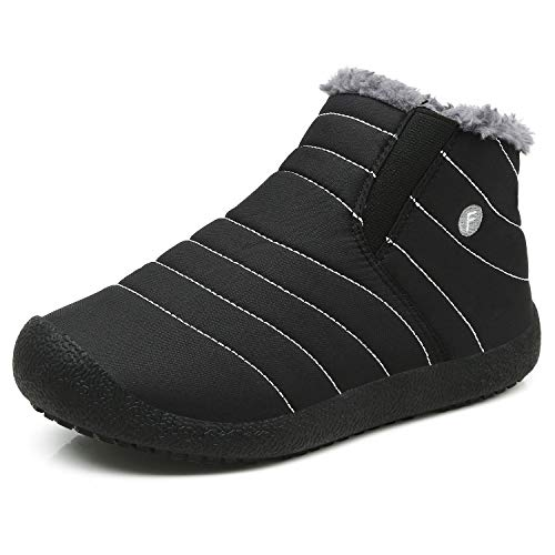 Enly Winter Snow Boots Slip-on Water Resistant Booties for Men Women Kids, Anti-Slip Lightweight Ankle Boots with Full Fur,Black/Kids,11.5 M US Little Kid