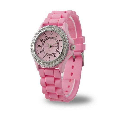 EDT-New Pink Luxury Stylish Classic Gel Silicone Crystal Men Lady Jelly Watch ()