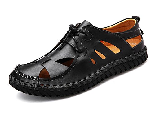 2017 new casual shoes male leather sandals breathable leather non-slip beach shoes Black