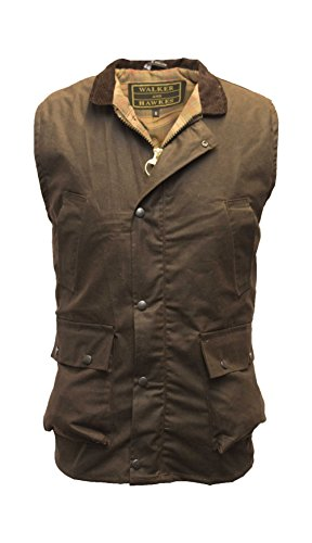 Walker and Hawkes Men's Wax Bodywarmer Waistcoat Countrywear Gilet Large Brown ()