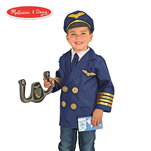 Melissa & Doug Pilot Role Play Costume Set (Dress-Up Pretend Play, 6 Pieces) ()