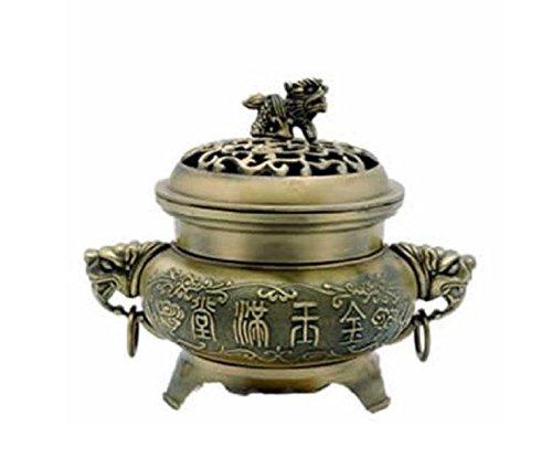 ひばり宿命ジョセフバンクス真鍮FU Temple犬Incense Burner