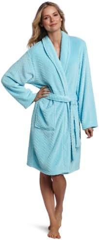 Seven Apparel Hotel Spa Collection Herringbone Textured Plush Robe,Seafoam aqua blue