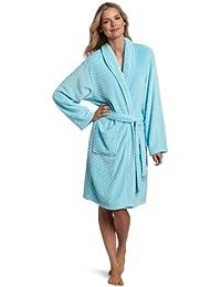 Hotel Spa Collection Herringbone Textured Plush Robe,Seafoam aqua blue