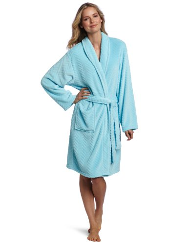 Seven Apparel Hotel Spa Collection Herringbone Textured Plush Robe,Seafoam aqua blue