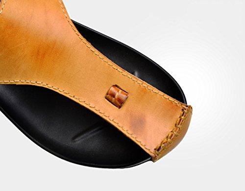 Caoutchouc Tongs Cuir marron en Sandales Vachette jaune Pantoufles Insun Adulte Extérieur de nXOU0qEFxw
