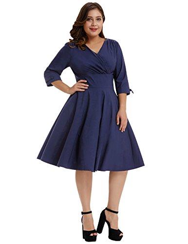 89aad5d8c3b Hanna Nikole Womens Plus Size V-Neck Stretchy Casual Midi Bridesmaid Dress  Navy Blue Size