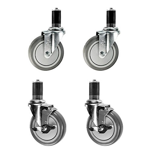 "1-1/2"" Expanding Stem Casters 2 with Brake - 5"" Polyurethane Wheel - Work Table Tube Legs Casters Set of 4"
