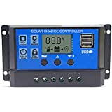 20A Solar Charge Controller Solar Panel Battery Intelligent Regulator with Dual USB Port 12V/24V PWM Auto Paremeter Adjustable LCD Display