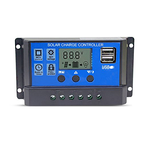 Solar Charge Controller 20A Solar Panel Battery Controller 12V/24V PWM Solar Controller Intelligent Regulator Adjustable LCD Display with Dual USB Load Timer Setting ON/OFF Hours