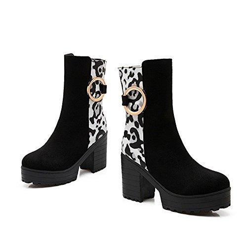 Tallone Moda Donna Tacco Grosso Punta Rotonda Stampa Leopardo Boot Bianco
