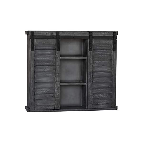 Functional Home Accents Shutter Sliding Double Doors Storage Wall Cabinet for Kitchen, Bathroom, Bar, Nursery Home Decor…