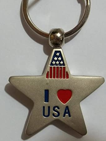 Amazon.com: EE. UU. Llavero – Star shapped, I Love USA ...