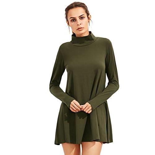 c34afd1ec1de7 best SheIn Women's Casual Loose Turtleneck Long Sleeve T-shirt Dress ...