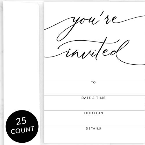 (25 Party Invitations with Envelopes | Blank, Black and White Invites | Great for Weddings, Graduation, Couples Showers, Rehearsal Dinners, Anniversaries, Special Events, Fundraisers)