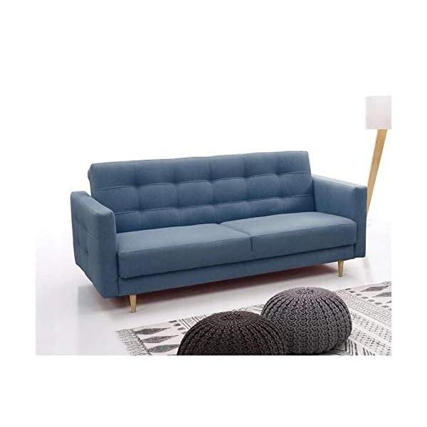 E-MEUBLES Canapé lit Convertible Salon Relax Noveau scandinave Design Revêtement de Canapé Scarlett (Bleu)
