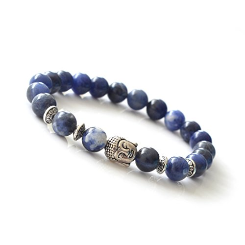 Joya Gift Natural Sodalite 8MM Round Beads Buddha head Gemstone Chakra Bracelet for Women Charms Men Jewelry (Sodalite Gemstone Bracelet)