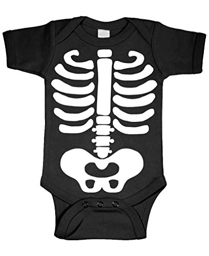 Baby Skeleton - Halloween Costume Outfit - Cotton Infant Bodysuit, 6m, Black