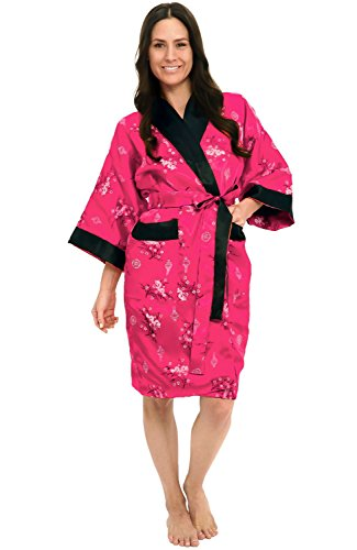 Alexander Del Rossa Traditional Chinese Kimono Reversible Satin Lounge Robe, Large Violet Red (A0004WVOLG)