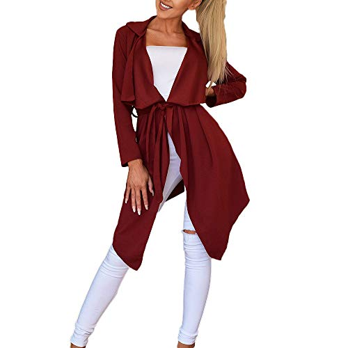 NUWFOR Women's Loose Solid Irregular Hem with Lapel Coat Trench Coat Cardigan Tops(Wine,M) by NUWFOR (Image #5)